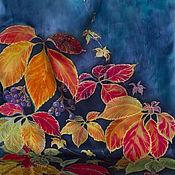 Аксессуары ручной работы. Ярмарка Мастеров - ручная работа Батик шарф Дикий виноград. Handmade.