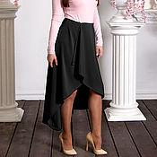 Одежда handmade. Livemaster - original item Long skirt black, asymmetric skirt with a smell in front, MIDI skirt. Handmade.