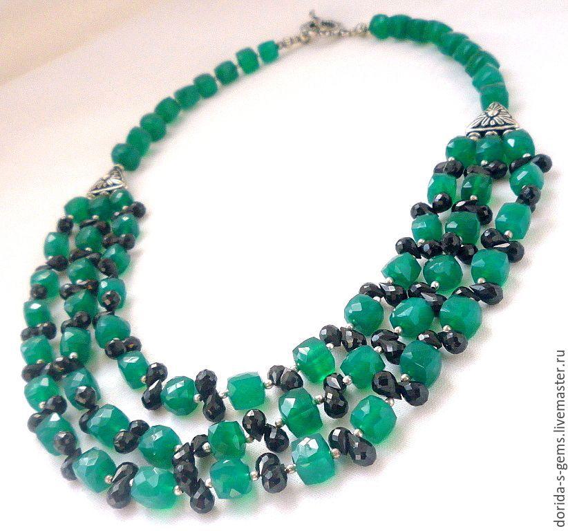 Necklace 3 strands of ogran. green onyx, black spinel beads – shop ...