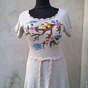 Одежда ручной работы. Ярмарка Мастеров - ручная работа вязаное платье    лен с хлопком. Handmade.