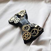 Ties handmade. Livemaster - original item Eco leather bow tie with gears black. Handmade.