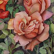Картины и панно ручной работы. Ярмарка Мастеров - ручная работа Картина акварелью Осенние розы. Handmade.