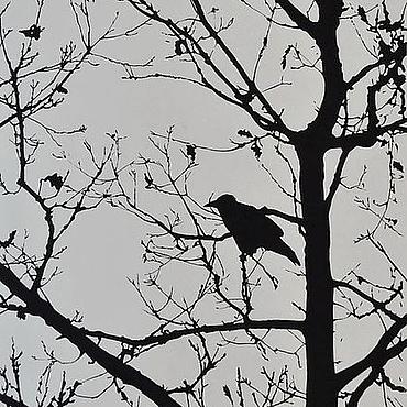 """Картины и панно ручной работы. Ярмарка Мастеров - ручная работа Картина """"Ворона на дереве"""".. Handmade."""