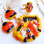 Украшения handmade. Livemaster - original item Set of glass jewelry. Fusing jewelry. Yellow orange jewelry set. Handmade.