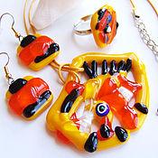 Украшения handmade. Livemaster - original item Set of glass jewelry. Fusing jewelry. Yellow orange jewelry set. Handmade.