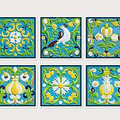 Картины и панно handmade. Livemaster - original item Paintings: series Of panels for interior Tiles with ornaments Russian style. Handmade.