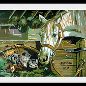 """Картины и панно ручной работы. Ярмарка Мастеров - ручная работа Картина на картоне:""""Деревенские друзья"""". Handmade."""