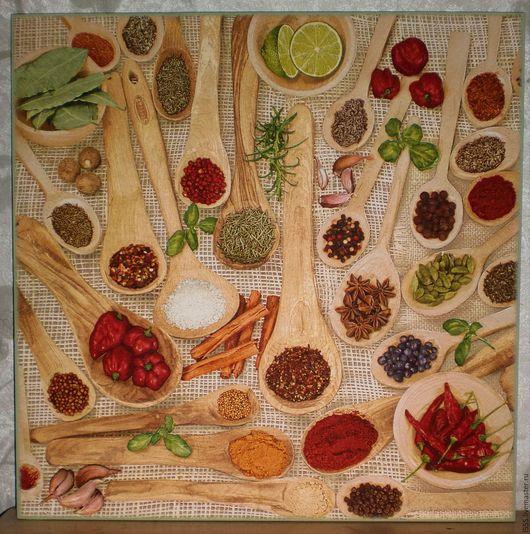 """Кухня ручной работы. Ярмарка Мастеров - ручная работа. Купить """"Специи"""" разделочная доска панно. Handmade. Комбинированный, специи, ложки"""