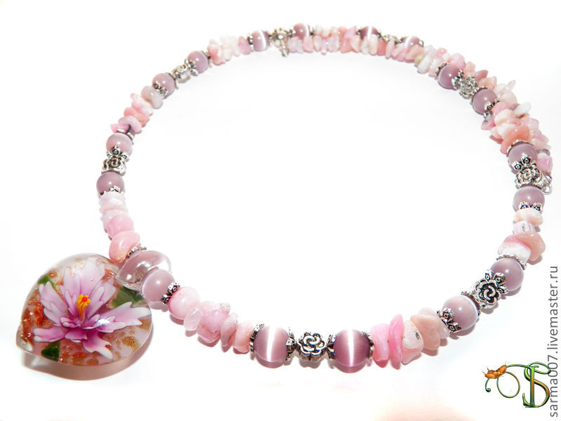 Necklace 'angel Heart' pink opal, lampwork, Necklace, Voronezh,  Фото №1