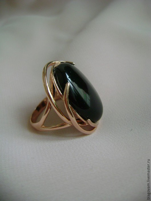 Кольца ручной работы. Ярмарка Мастеров - ручная работа. Купить Позолоченное кольцо 585 пр с черным агатом. Handmade. Черный