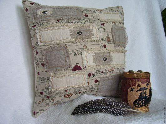 Текстиль, ковры ручной работы. Ярмарка Мастеров - ручная работа. Купить Подушка декоративная. Handmade. Комбинированный, диванная подушка, молния