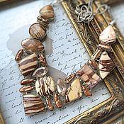 Украшения handmade. Livemaster - original item Necklace-striped Jade and Pearls Biwa. Handmade.