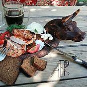 Cutting Boards handmade. Livemaster - original item Wooden Board for serving steak Bullfighting Dish for serving. Handmade.