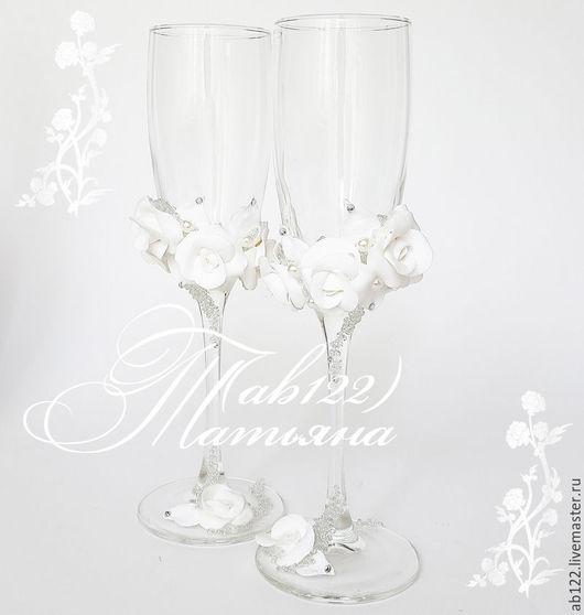 Свадебные аксессуары ручной работы. Ярмарка Мастеров - ручная работа. Купить Свадебные бокалы белая классика. Handmade. Белый