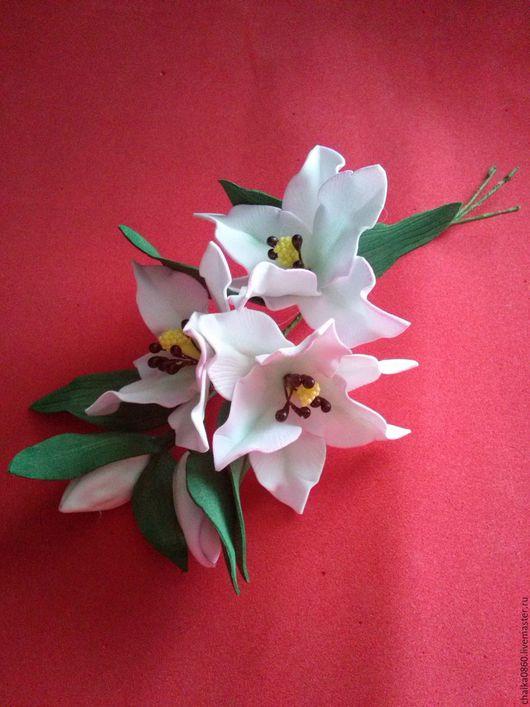 Свадебные украшения ручной работы. Ярмарка Мастеров - ручная работа. Купить Веточка с цветами лилии под любое крепление. Handmade.