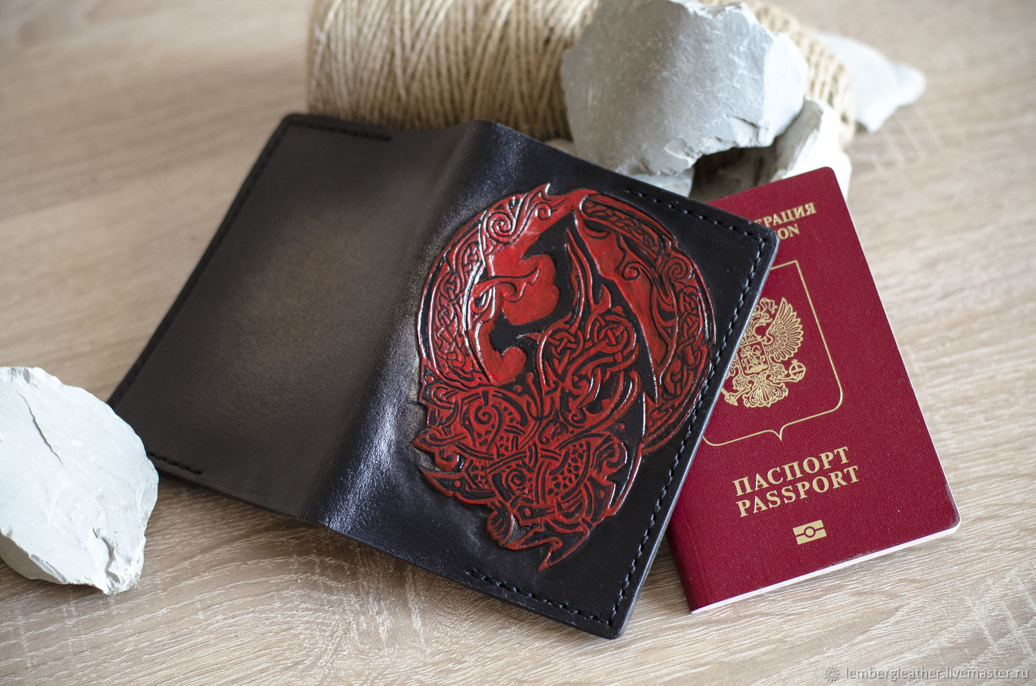 Passport cover 'Fenrir' NAT. leather, Passport cover, Moscow,  Фото №1