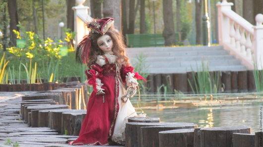 Коллекционные куклы ручной работы. Ярмарка Мастеров - ручная работа. Купить Джеральдина(Венецианский карнавал). Handmade. Бордовый, интерьерная кукла