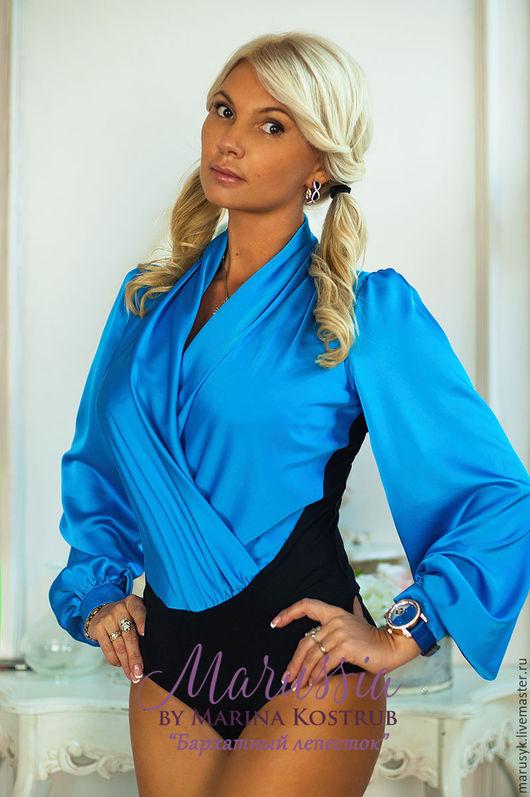 Блузки ручной работы. Ярмарка Мастеров - ручная работа. Купить блузка-Боди-БЛ-26. Handmade. Тёмно-синий