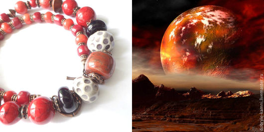 Колье, бусы ручной работы. Ярмарка Мастеров - ручная работа. Купить Колье Огненный Марс (керамика, коралл, яшма). Handmade.