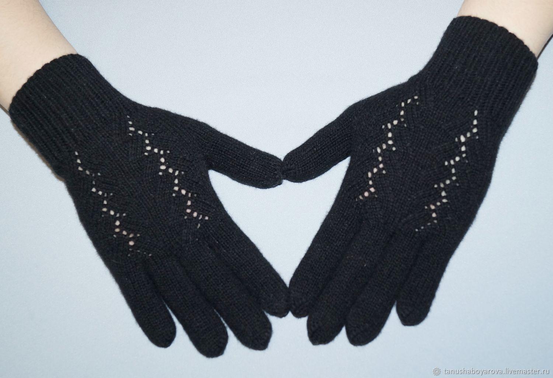 Black merino gloves with cashmere, Gloves, Orenburg,  Фото №1