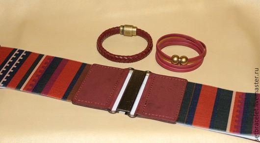 Браслеты ручной работы. Ярмарка Мастеров - ручная работа. Купить Кожаные браслеты из кожи бордовой комплект с ремнем. Handmade. Бордовый
