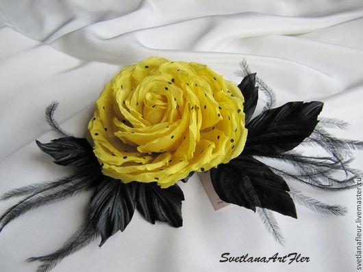 Цветы ручной работы. Ярмарка Мастеров - ручная работа. Купить Роза желтая в черный горошек. Handmade. Желтый, в горошек, роза