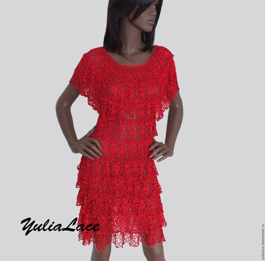 Платья ручной работы. Ярмарка Мастеров - ручная работа. Купить Вязаное платье красное. Handmade. Ярко-красный, платье вязаное