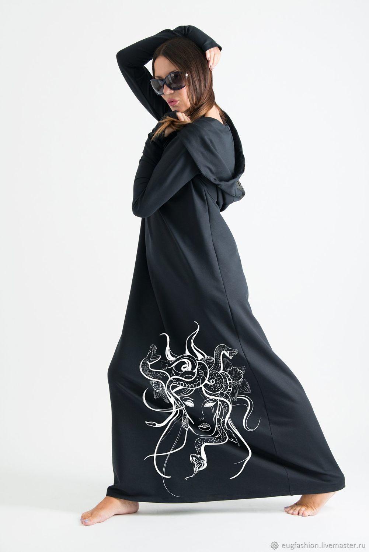 Длинное теплое  платье с капюшоном - DR0385W2, Платья, София,  Фото №1
