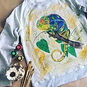Одежда ручной работы. Ярмарка Мастеров - ручная работа Свитшот с росписью Хамелеон. Handmade.