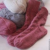 Аксессуары ручной работы. Ярмарка Мастеров - ручная работа Вязаные шерстяные носки Розовая дымка. Handmade.