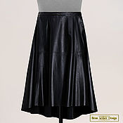 Одежда handmade. Livemaster - original item Asymmetrical bell skirt made of genuine leather (black). Handmade.