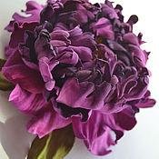 Украшения handmade. Livemaster - original item Leather flowers Brooch Flowers Purple Spring. Handmade.