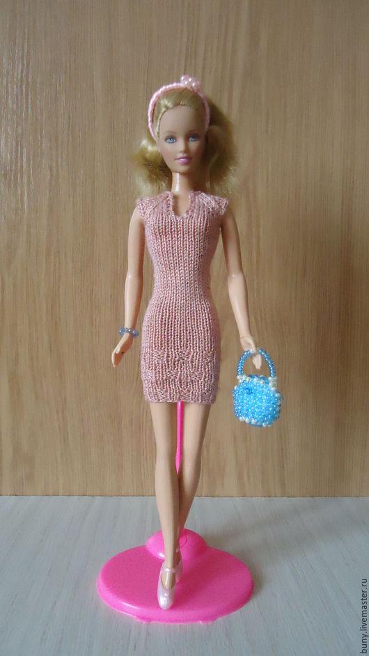 Одежда для кукол ручной работы. Ярмарка Мастеров - ручная работа. Купить Короткое платье с рукавом реглан. Handmade. Розовый, кнопки