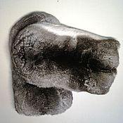 Варежки ручной работы. Ярмарка Мастеров - ручная работа Варежки для массажа из шиншиллы. Handmade.