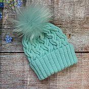Аксессуары handmade. Livemaster - original item knitted hat with flap. Handmade.