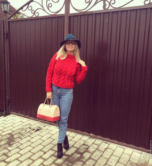 Кофты и свитера ручной работы. Ярмарка Мастеров - ручная работа. Купить Beauty red свитер. Handmade. Ярко-красный