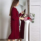 Одежда handmade. Livemaster - original item cardigans: Women`s knitted long cardigan in the color of Bordeaux. Handmade.