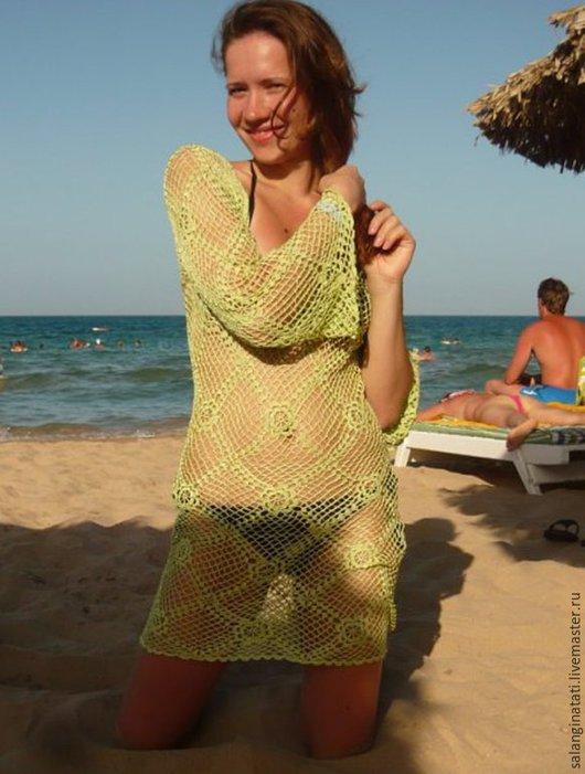 Пляжные туники ручной работы. Ярмарка Мастеров - ручная работа. Купить вязаная туника крючком, вязаное платье крючком, вязаное летнее платье. Handmade.
