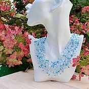 "Украшения handmade. Livemaster - original item Necklace ""Blue sky and white clouds""  turquoise, beads. Handmade."