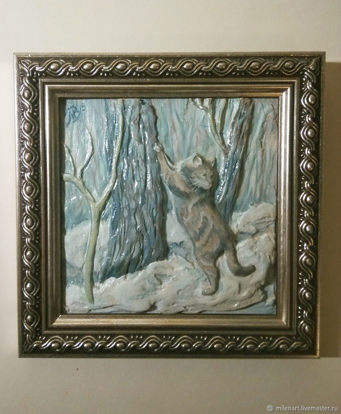 "Барельеф ""Кот в лесу"", Картины, Санкт-Петербург,  Фото №1"