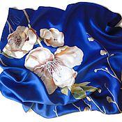 Аксессуары handmade. Livemaster - original item Batik Shawl Blue. Handmade.