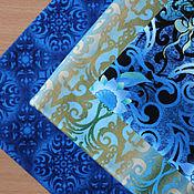 Материалы для творчества ручной работы. Ярмарка Мастеров - ручная работа Ткань для пэчворка Shangri-La Blue. Handmade.