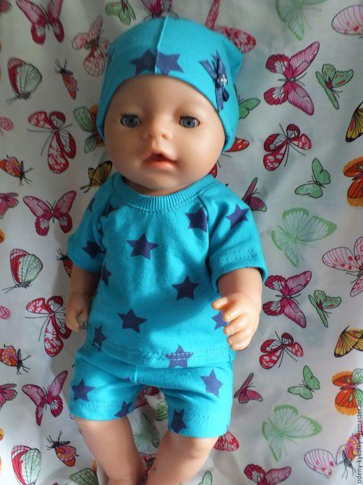 Одежда для кукол ручной работы. Ярмарка Мастеров - ручная работа. Купить Летний костюм для мальчика Baby Born. Handmade. Бирюзовый