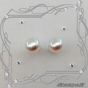 Украшения handmade. Livemaster - original item Pearl-Big Pearl stud earrings, 925 sterling silver. VIDEO. Handmade.