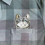 Вышивка котик в кармашке 17
