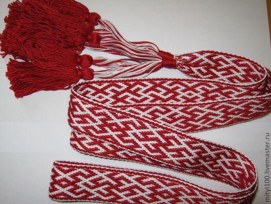 """Одежда ручной работы. Ярмарка Мастеров - ручная работа. Купить Пояс """"Цветок папоротника в вязи"""" красный. Handmade. Пояс"""