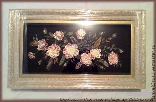 Картины цветов ручной работы. Ярмарка Мастеров - ручная работа. Купить Картина лентами Розы на черном. Handmade. Картина, розы