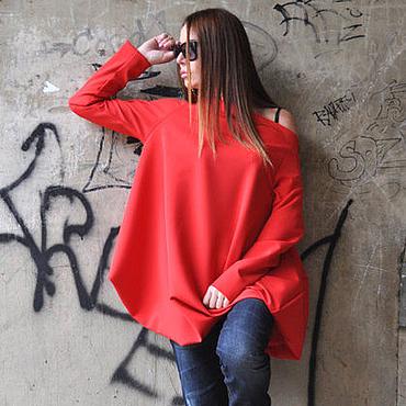 Одежда ручной работы. Ярмарка Мастеров - ручная работа Красная туника, со спущенными плечами - TU0471PM. Handmade.