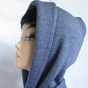 Аксессуары handmade. Livemaster - original item Hood scarf hood double-layer color jeans the wool. Handmade.