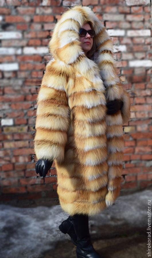 Верхняя одежда ручной работы. Ярмарка Мастеров - ручная работа. Купить Шуба из меха рыжей  лисы, с капюшоном.Без вставок. Handmade.